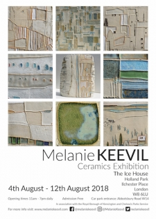 Ceramic Art exhibition poster for Icehouse Gallery in Holland Park
