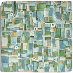 Semi Abstract Ceramic Art Wall Panel Green Patchwork Square