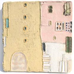 Large Ceramic Art Tile inspired by Cotignac, Provence, France