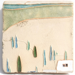 Ceramic Art tile inspired by Cotignac, Provence, France