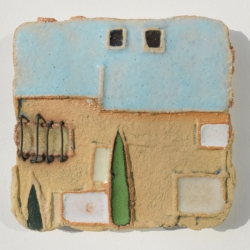 Ceramic Art Tile with Cypress Tree