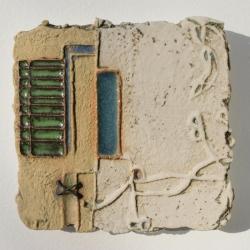 Ochre Textured Ceramic Art Tile