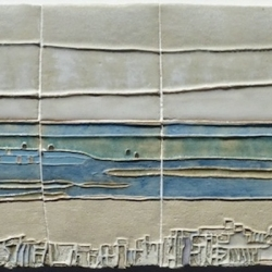 Ceramic Art wall panel depicted beach scene at Sandymouth, Cornwall