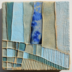 Blue Textured Ceramic Art Tile