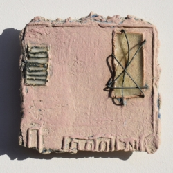 Pink Textured Ceramic Art Tile with wire